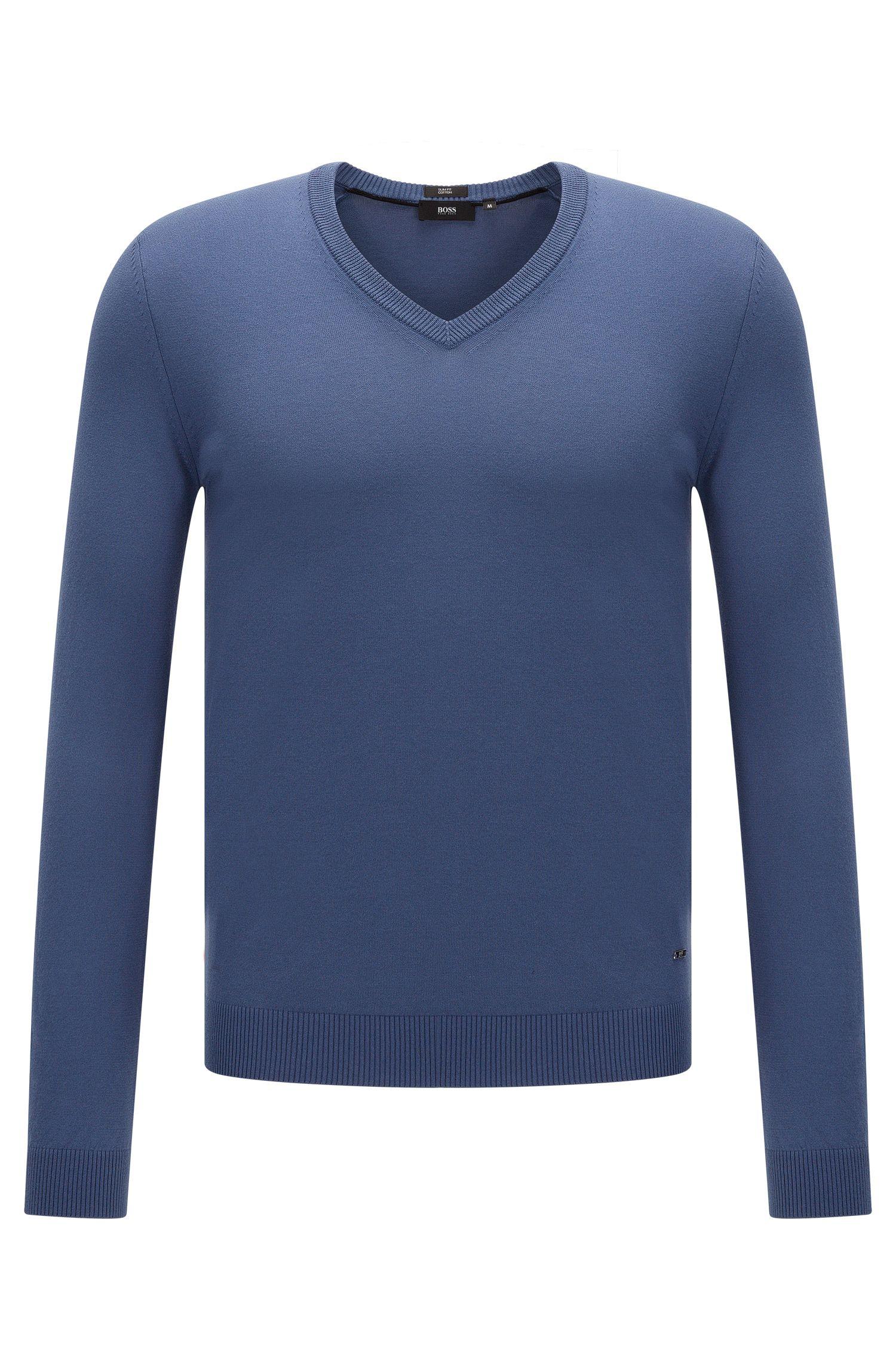 Unifarbener Slim-Fit Pullover mit V-Ausschnitt: 'Fabbert-O'