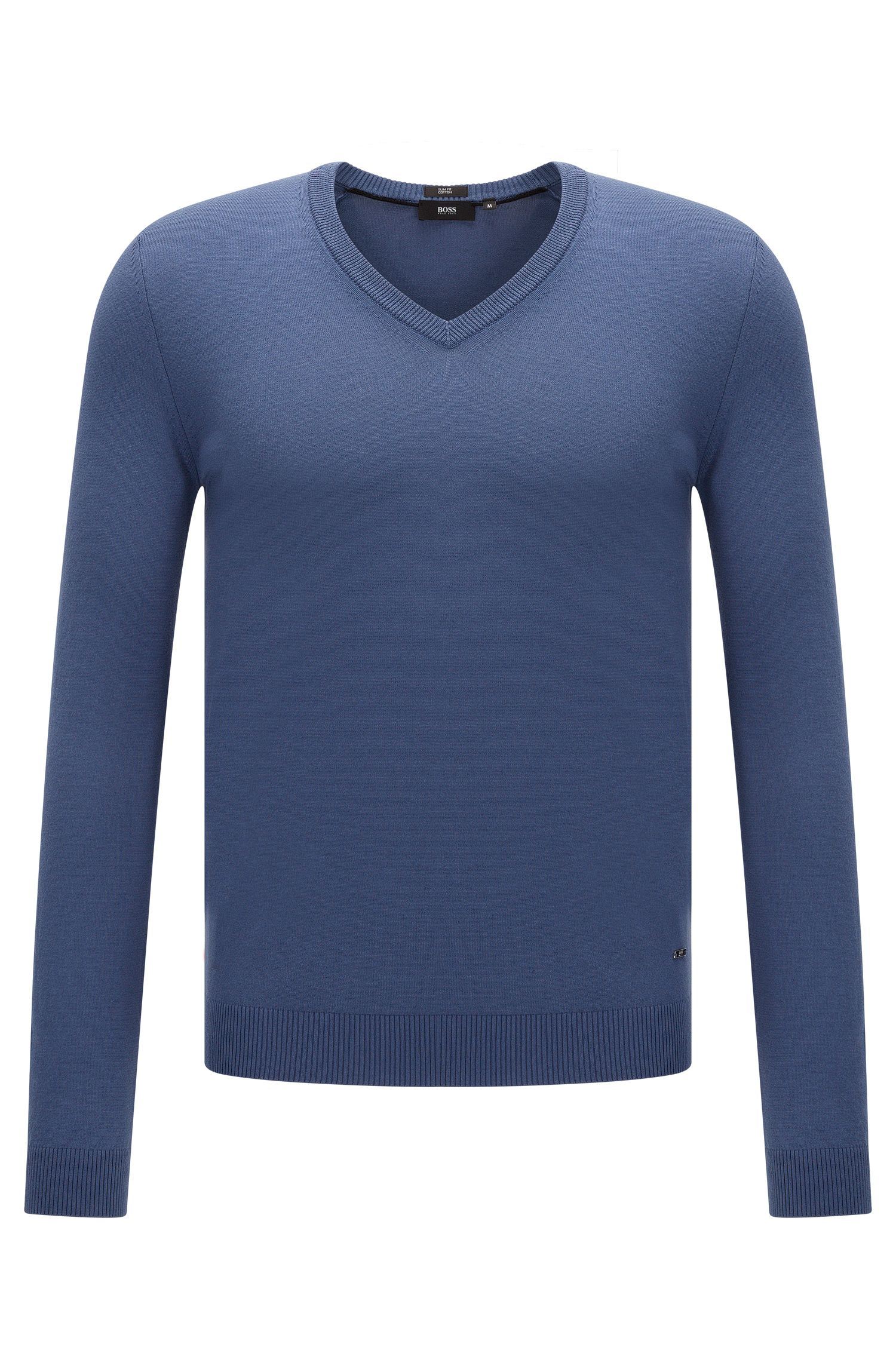 Plain slim-fit sweater with V-neck: 'Fabbert-O'