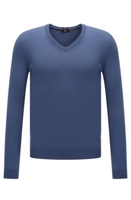 Plain slim-fit sweater with V-neck: 'Fabbert-O', Blue