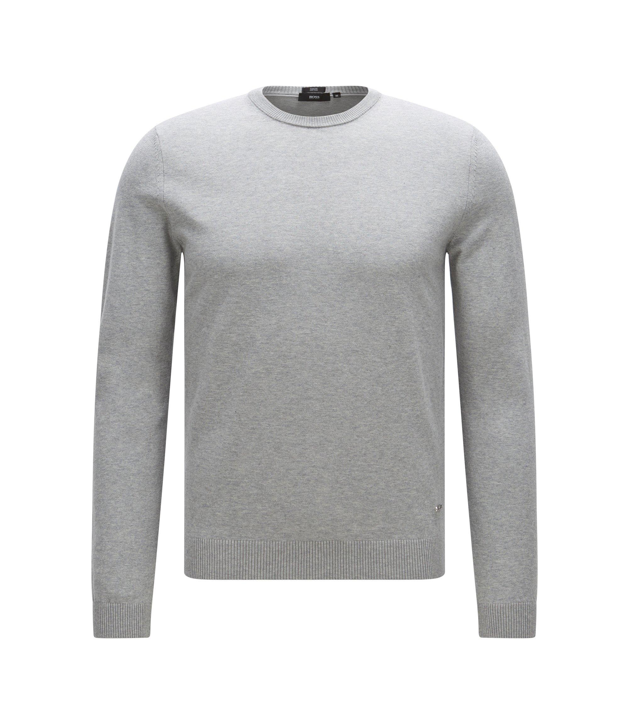 Pull Slim Fit en coton premium avec détails côtelés , Gris chiné