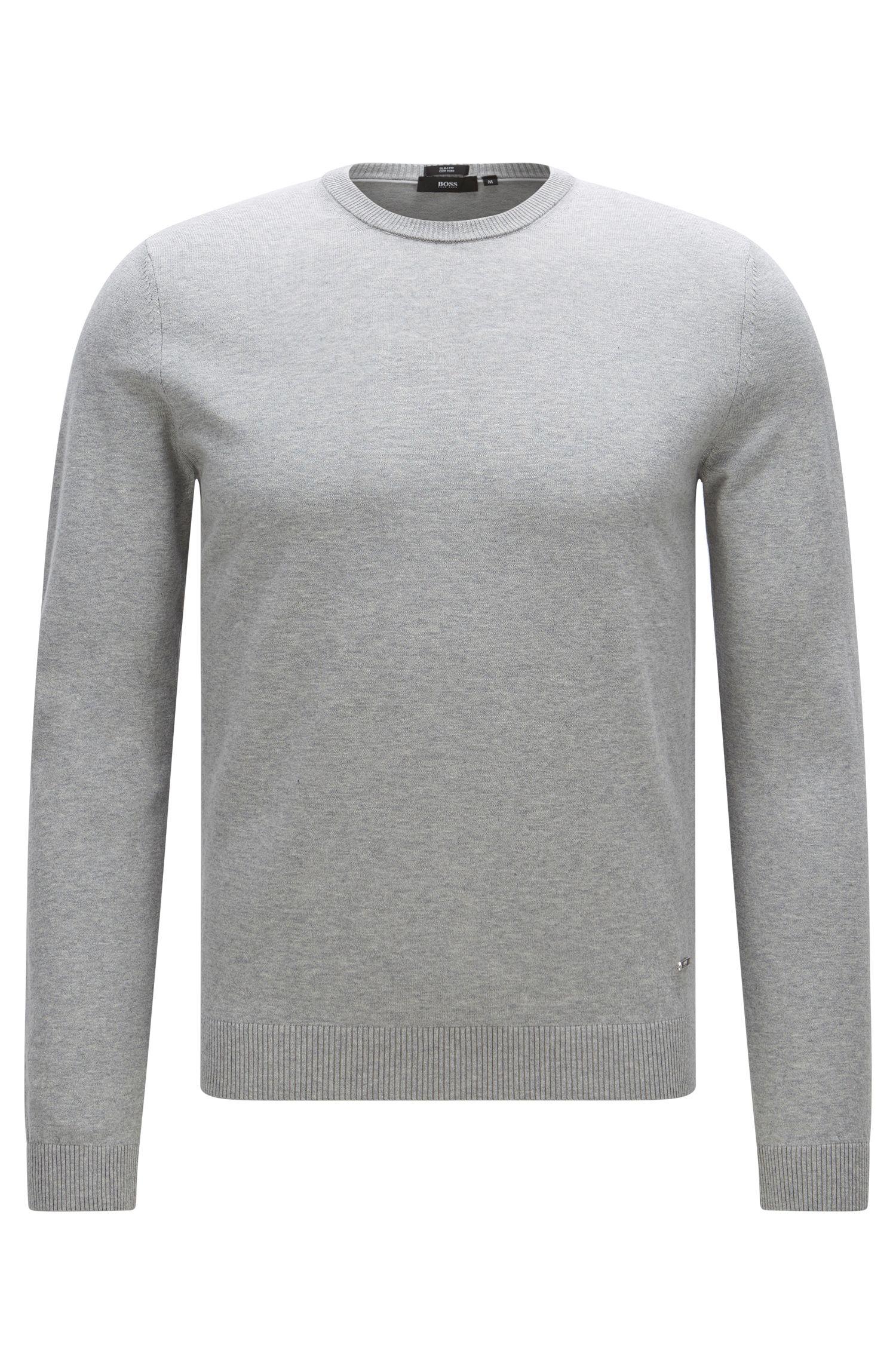 Slim-fit trui van premium katoen met ribdetails , Lichtgrijs