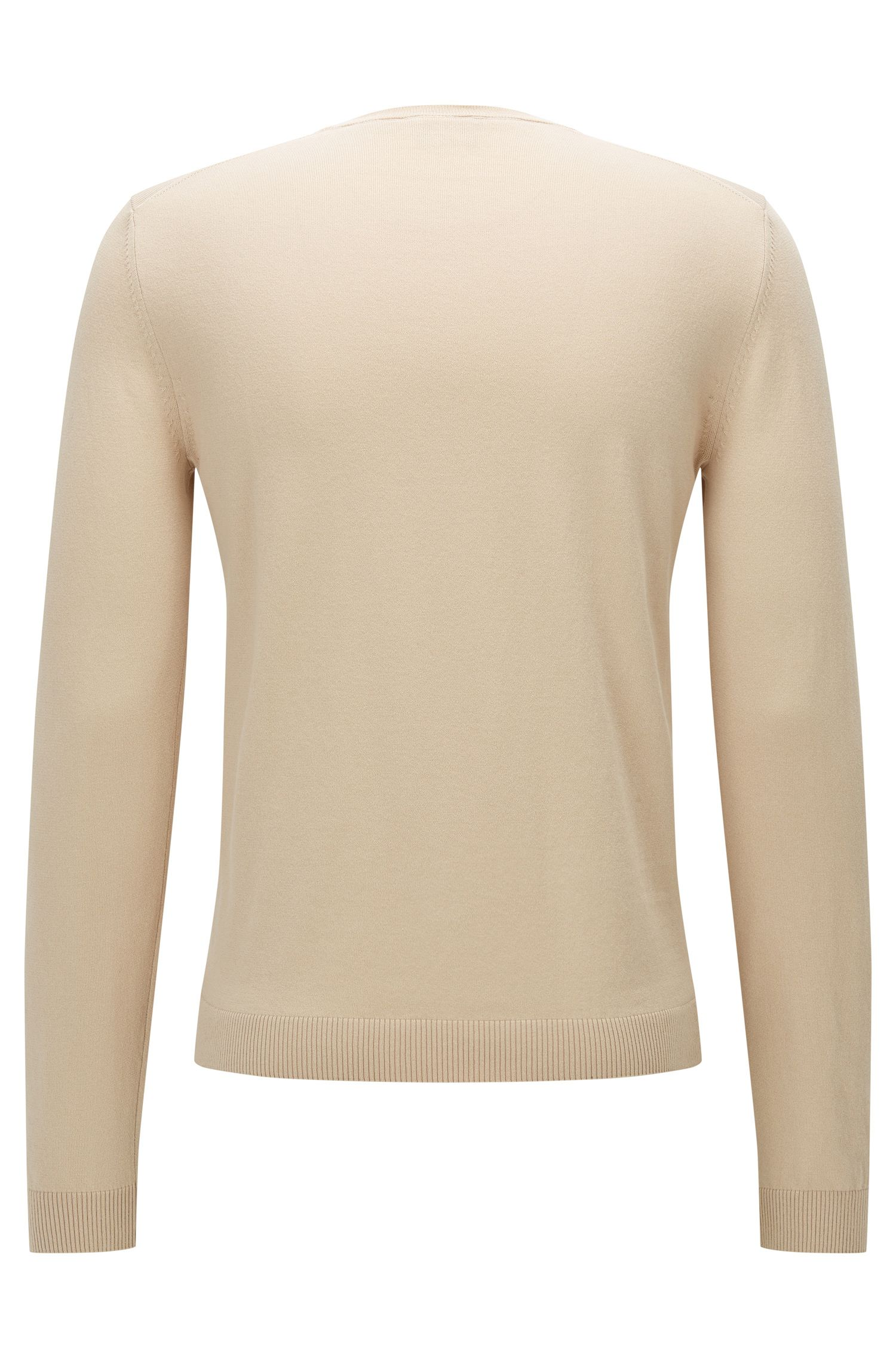 Slim-fit premium cotton sweater with ribbed details