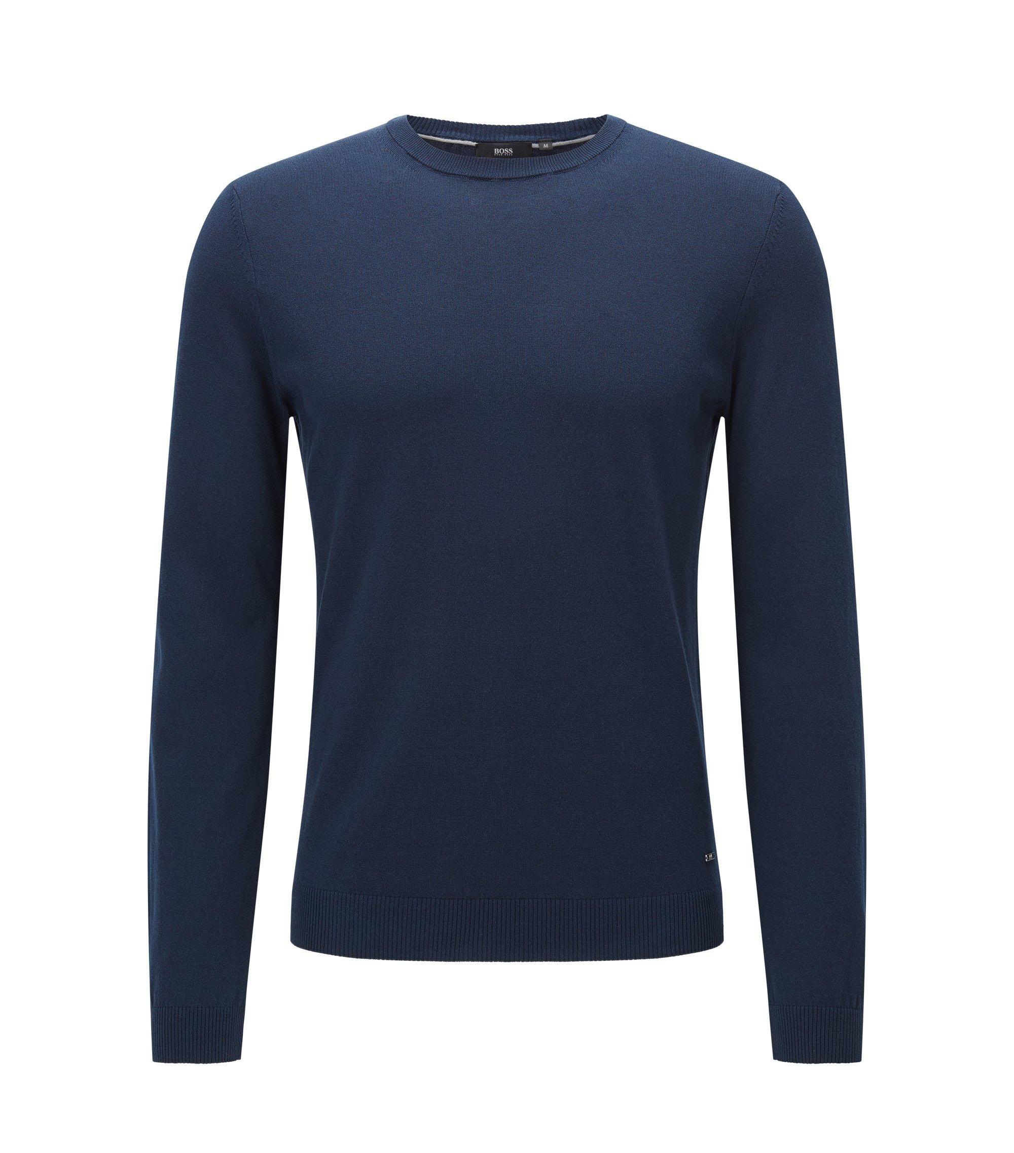 Pull Slim Fit en coton premium avec détails côtelés , Bleu foncé