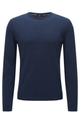 Slim-fit premium cotton sweater with ribbed details , Dark Blue