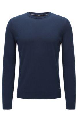 Maglione slim fit in cotone di qualità superiore con dettagli a coste , Blu scuro