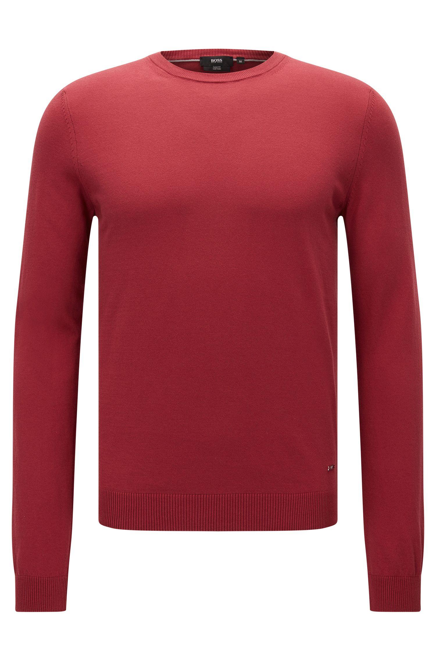Slim-Fit Pullover aus edler Baumwolle mit gerippten Details