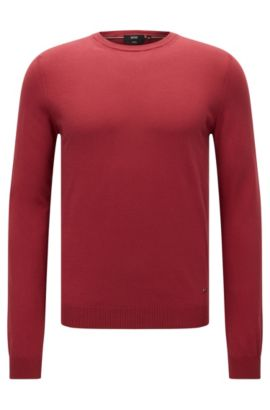 Slim-fit premium cotton sweater with ribbed details , Red