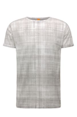 Camiseta estampada relaxed fit en algodón: 'Tomotion', Gris claro