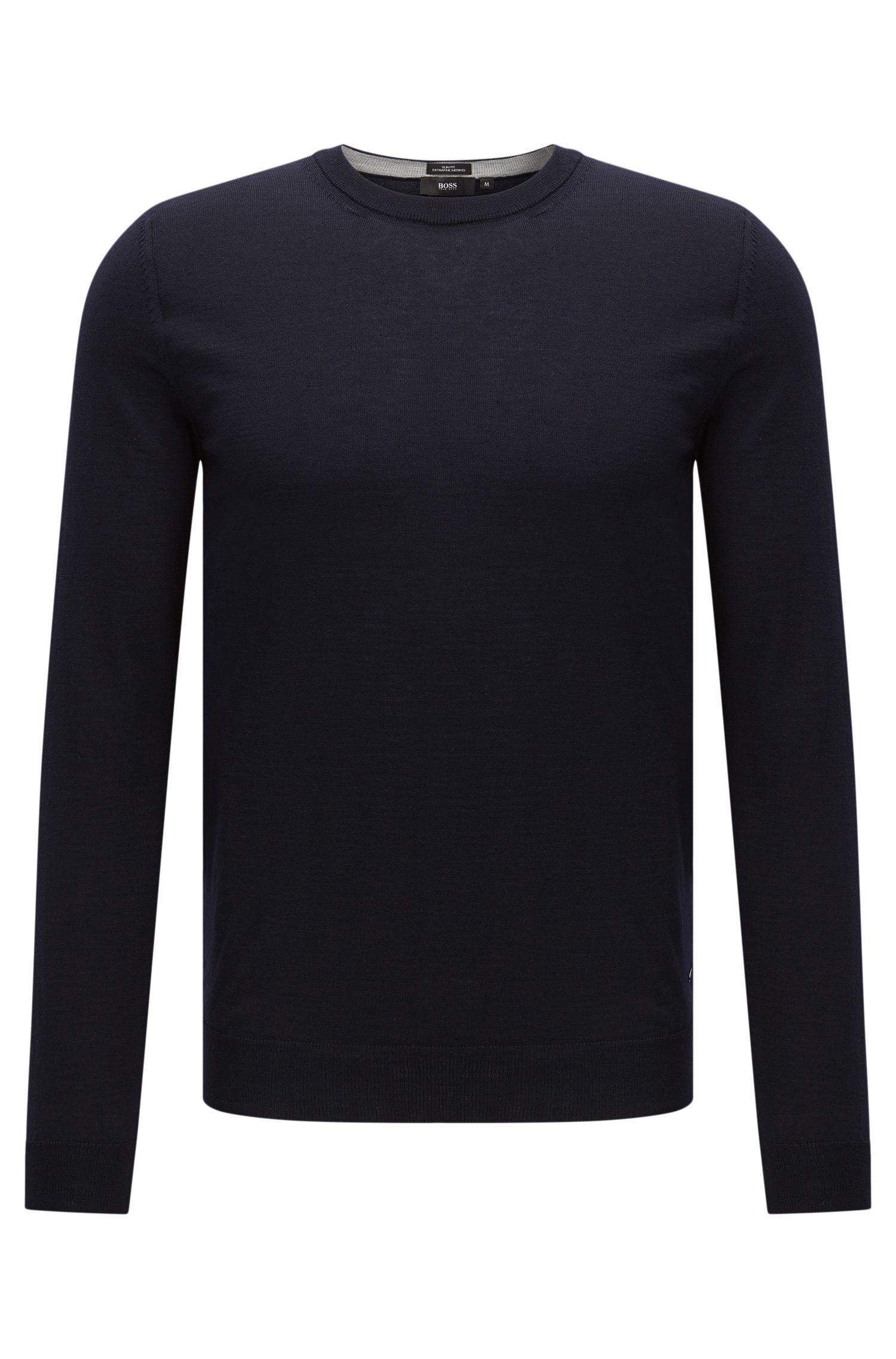 Slim-fit trui van scheerwol: 'Leno-O'