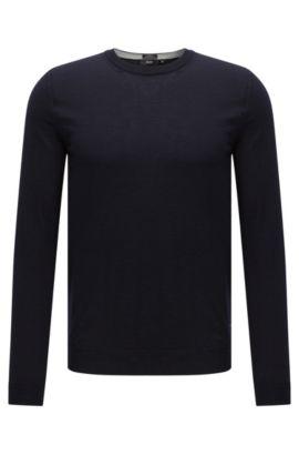 Maglione slim fit in lana vergine: 'Leno-O', Blu scuro