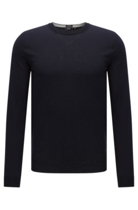 Slim-fit sweater in new wool: 'Leno-O', Dark Blue
