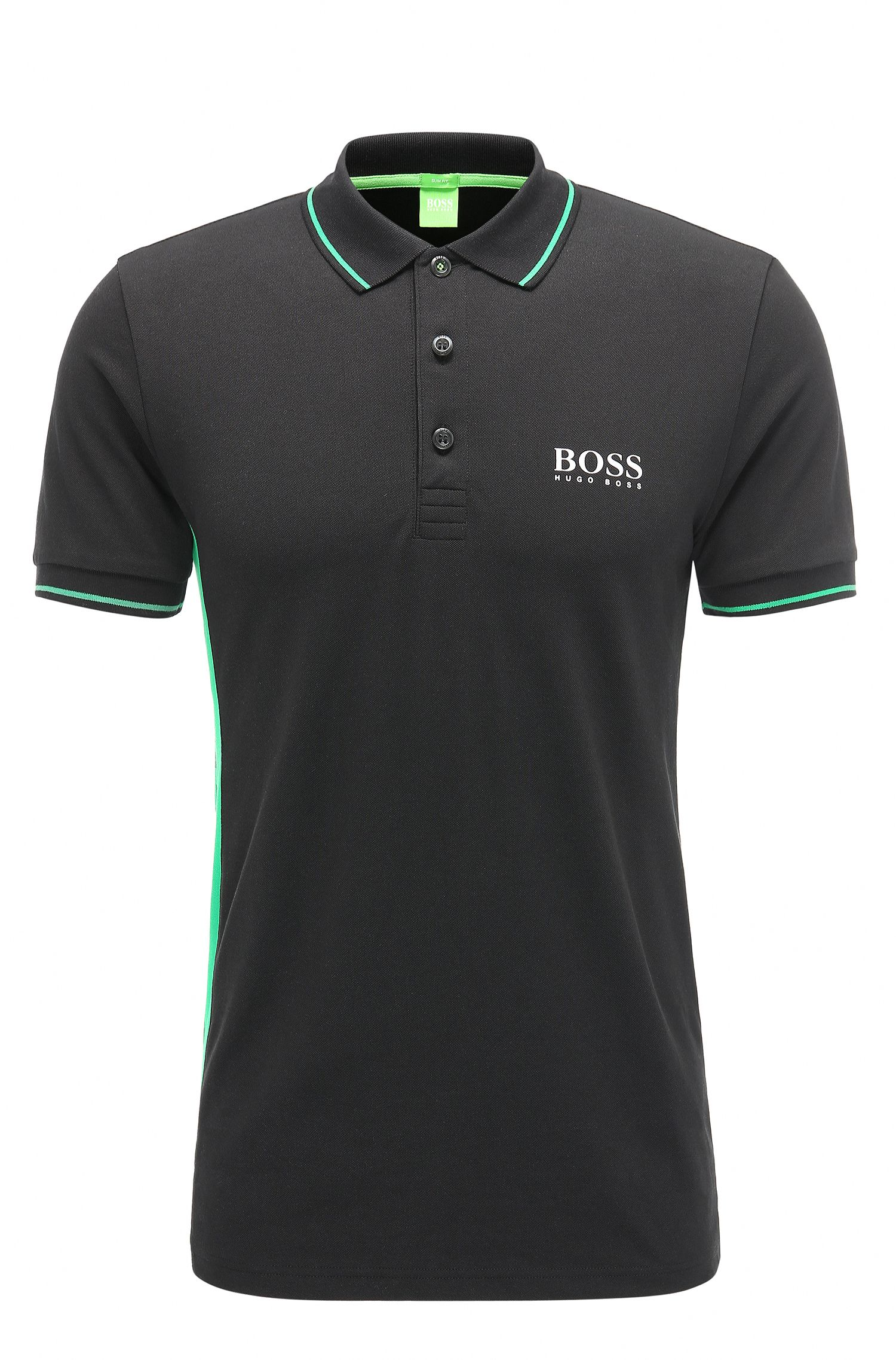Slim-fit polo shirt in a stretchy cotton blend: 'Paule Pro'