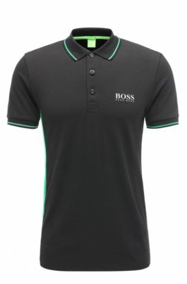 Slim-fit polo shirt in a stretchy cotton blend: 'Paule Pro', Black