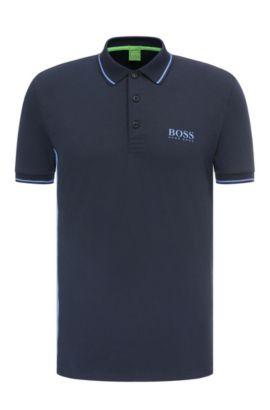 Polo Slim Fit en coton mélangé extensible: «Paule Pro», Bleu foncé