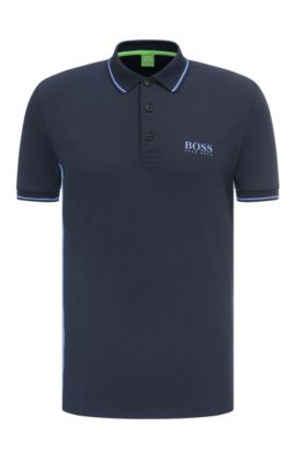 Slim-fit polo shirt in a stretchy cotton blend: 'Paule Pro', Dark Blue