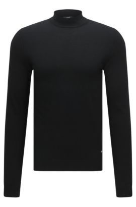 Slim-fit sweater in cotton with band collar: 'Olfrino', Black
