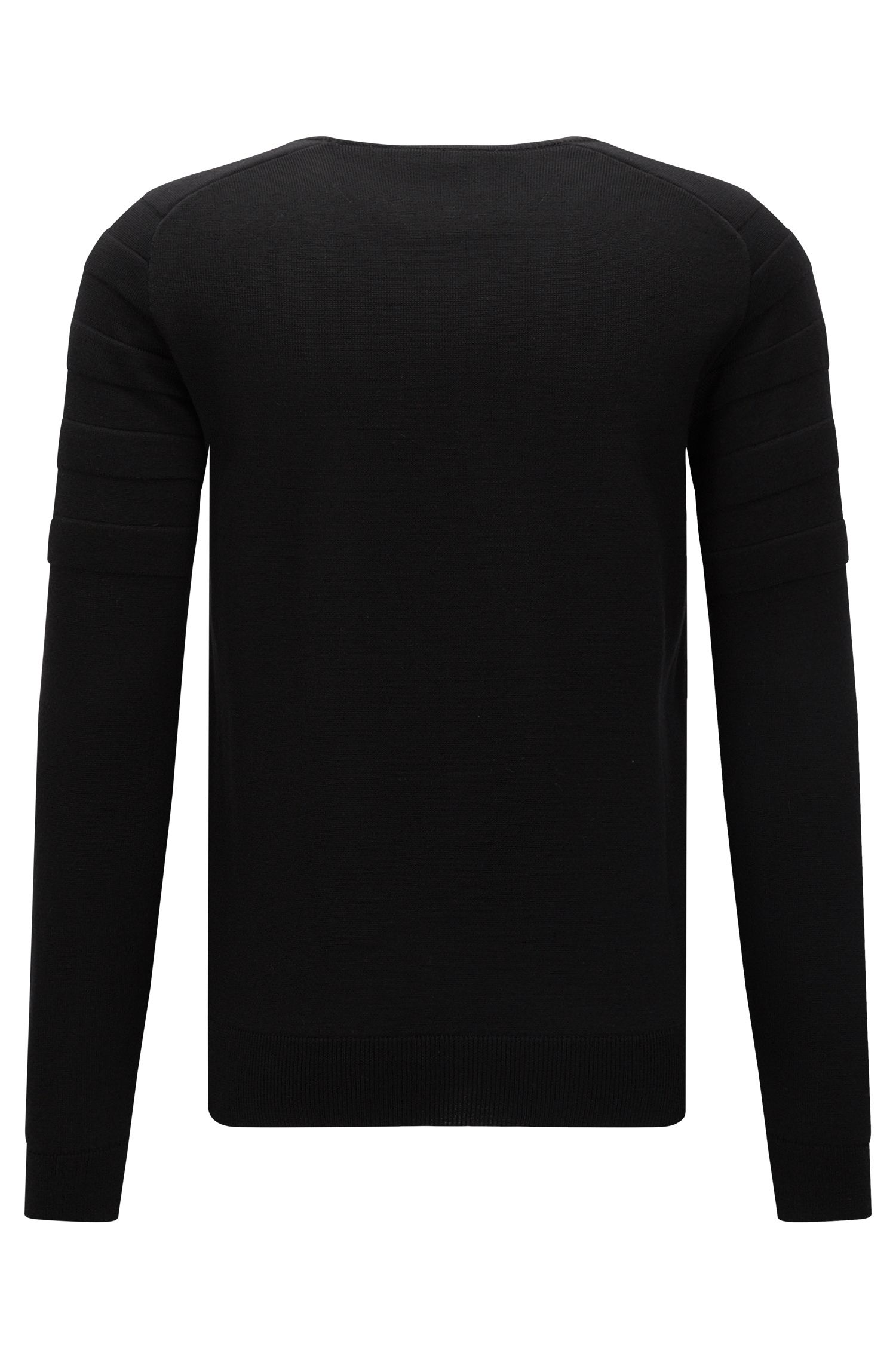 Biker-inspired sweater in virgin Merino wool
