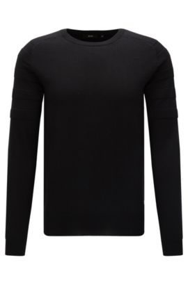 Plain slim-fit sweater in new wool: 'Omoto' from the Mercedes-Benz Collection, Black
