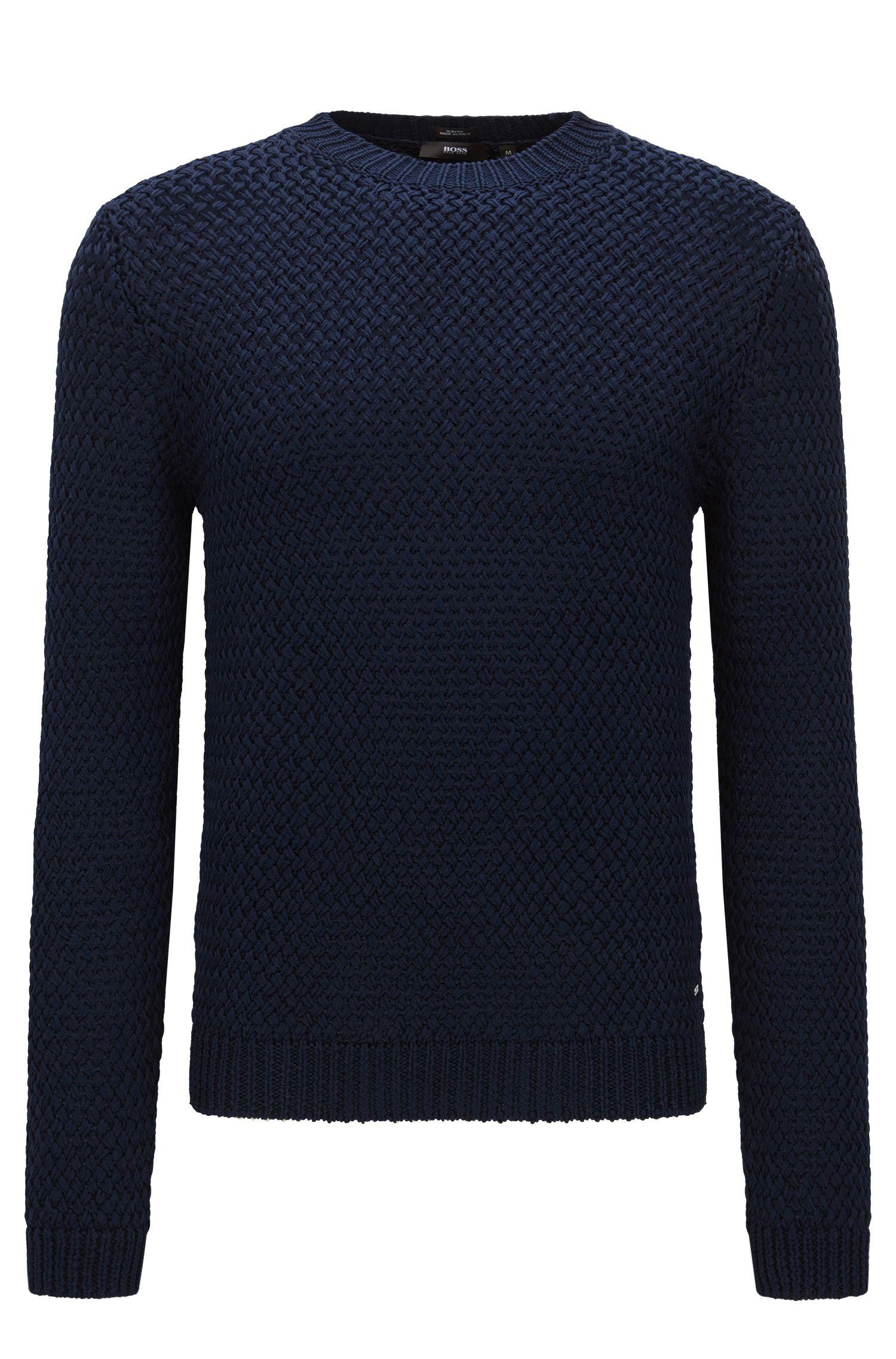 Effen, slim-fit trui van katoen: 'Olex'