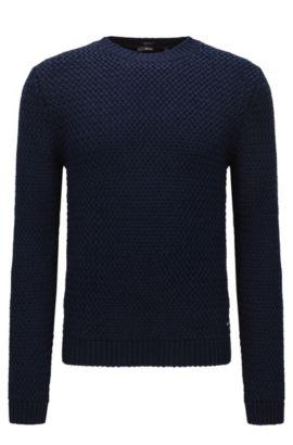 Effen, slim-fit trui van katoen: 'Olex', Donkerblauw