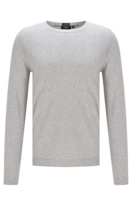 Finely mottled slim-fit sweater in cotton blend with silk and cashmere: 'Onario', Open Grey
