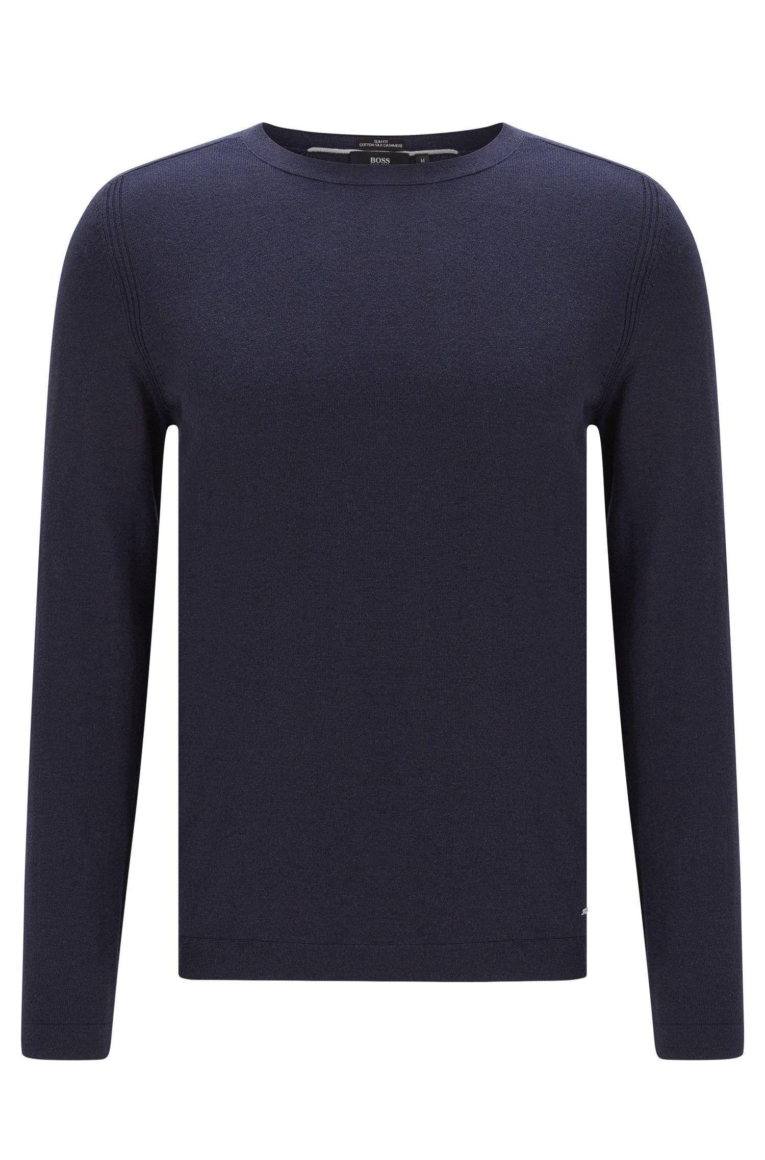 Maglione slim fit in misto cotone con seta e cashmere dal delicato look mélange: 'Onario'