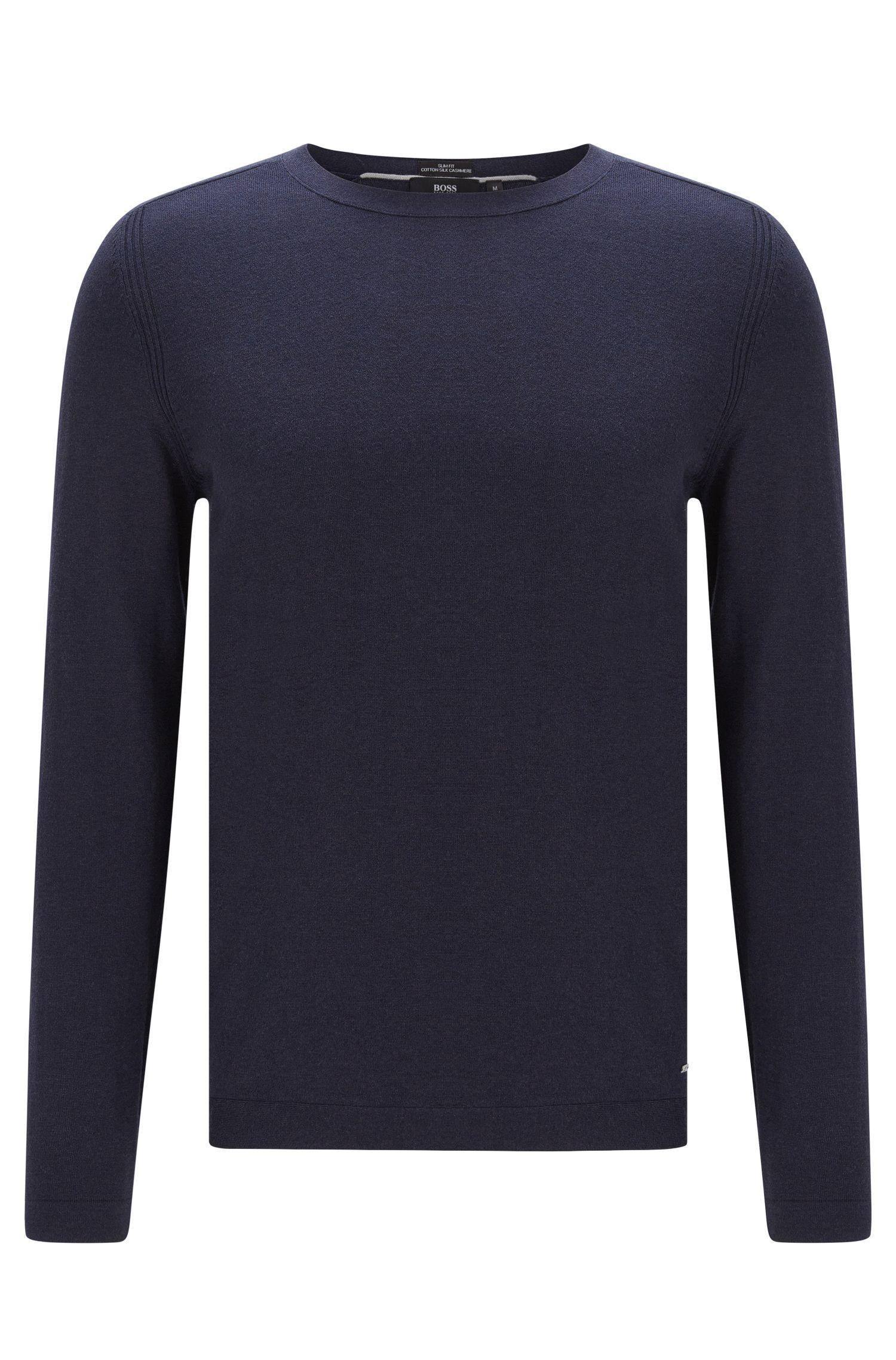 Finely mottled slim-fit sweater in cotton blend with silk and cashmere: 'Onario'