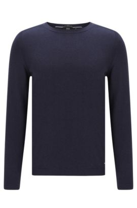 Pull Slim Fit en coton mélangé à de la soie et du cachemire, au motif chiné raffiné: «Onario», Bleu foncé