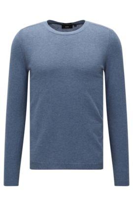 Maglione slim fit in misto cotone con seta e cashmere dal delicato look mélange: 'Onario', Blu