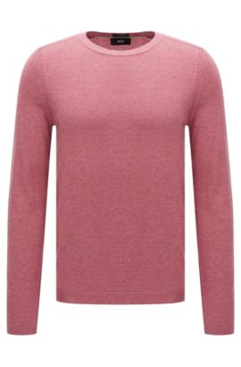 Finely mottled slim-fit sweater in cotton blend with silk and cashmere: 'Onario', Pink