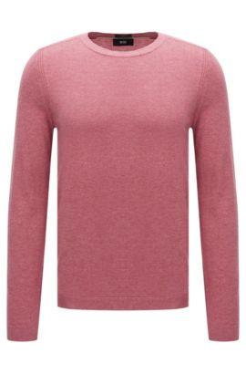 Maglione slim fit in misto cotone con seta e cashmere dal delicato look mélange: 'Onario', Rosa