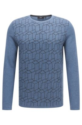 Regular-fit sweater in cotton blend with silk and cashmere: 'Ondo', Blue
