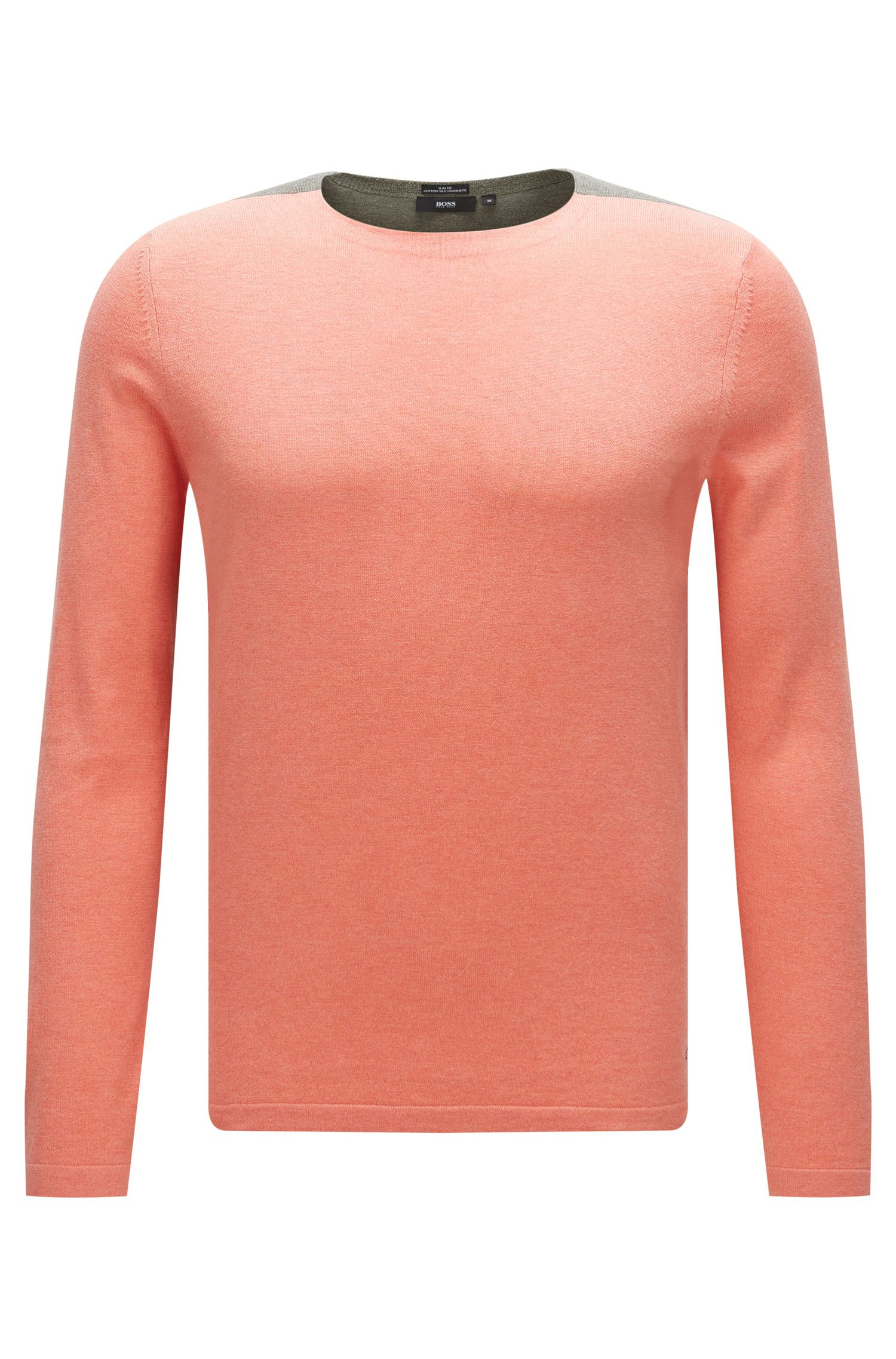 Two-tone slim-fit sweater in cotton blend with silk and cashmere: 'Onzo'
