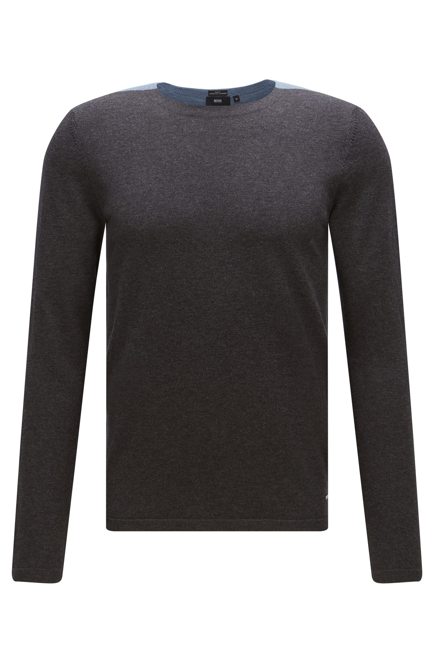 Zweifarbiger Slim-Fit Pullover aus Baumwoll-Mix mit Seide und Kaschmir: 'Onzo'