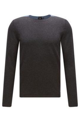 Zweifarbiger Slim-Fit Pullover aus Baumwoll-Mix mit Seide und Kaschmir: 'Onzo', Hellblau