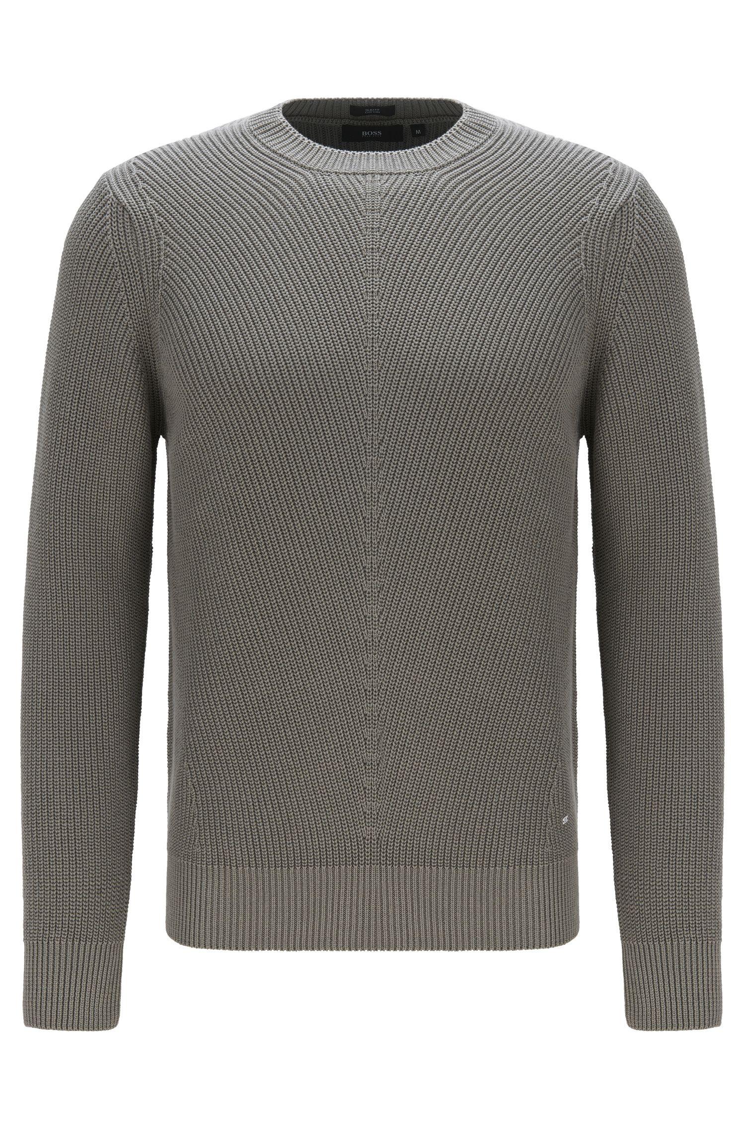 Unifarbener Slim-Fit Pullover aus Baumwolle: 'Odrigo'