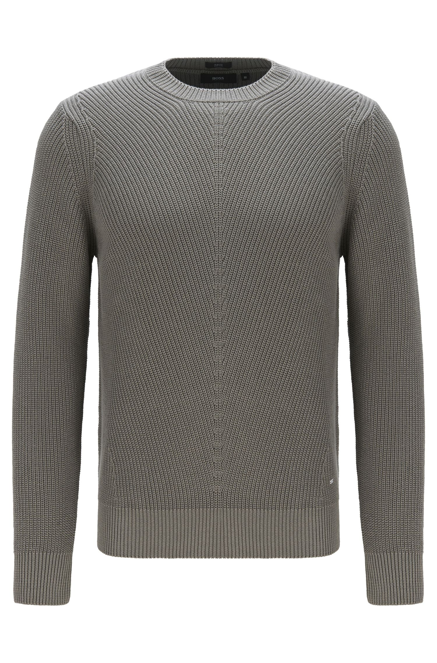 Plain-coloured slim-fit sweater in cotton: 'Odrigo'