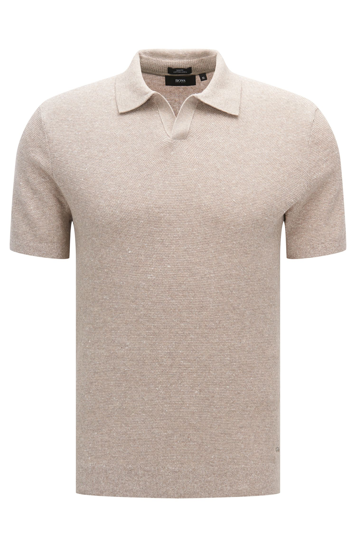 Slim-fit short-sleeved sweater in cotton blend with linen: 'Orenzo'