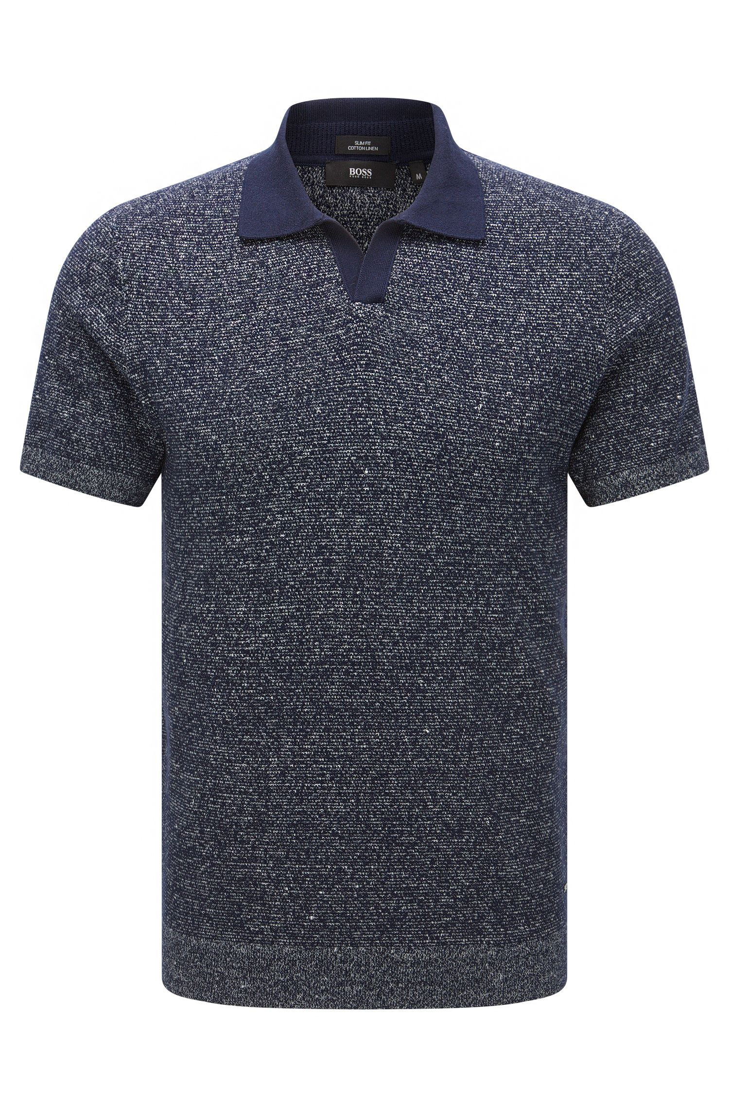 Jersey de manga corta slim fit en mezcla de algodón con lino: 'Orenzo'