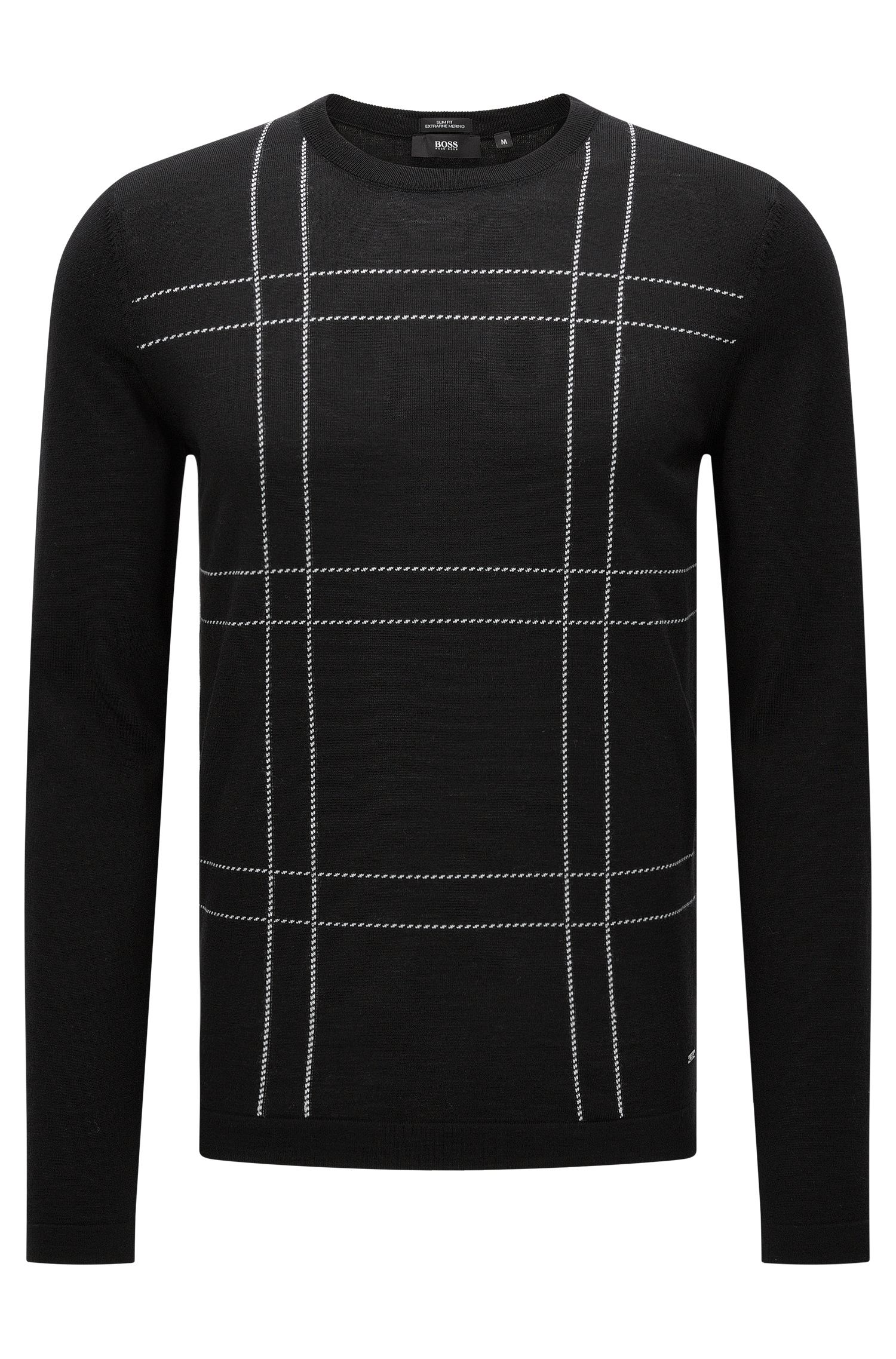 Slim-fit sweater in new wool with an embroidered front: 'Ontonio'