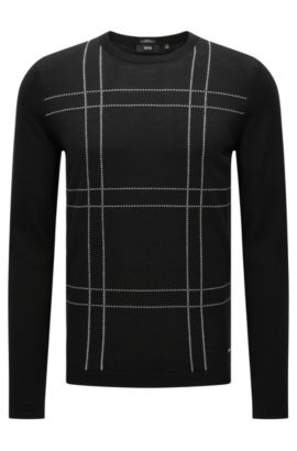 Slim-fit sweater in new wool with an embroidered front: 'Ontonio', Black