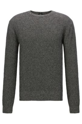 Mottled regular-fit sweater in cotton: 'Orsino', Anthracite