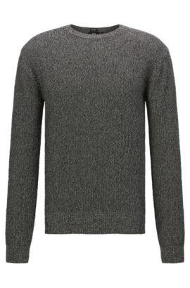 Jersey jaspeado regular fit en algodón: 'Orsino', Gris marengo