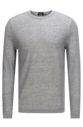 Textured sweater in linen: 'Ollivio', Grey