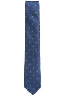 Krawatte aus fein bestickter Seide: 'Tie cm 7', Blau