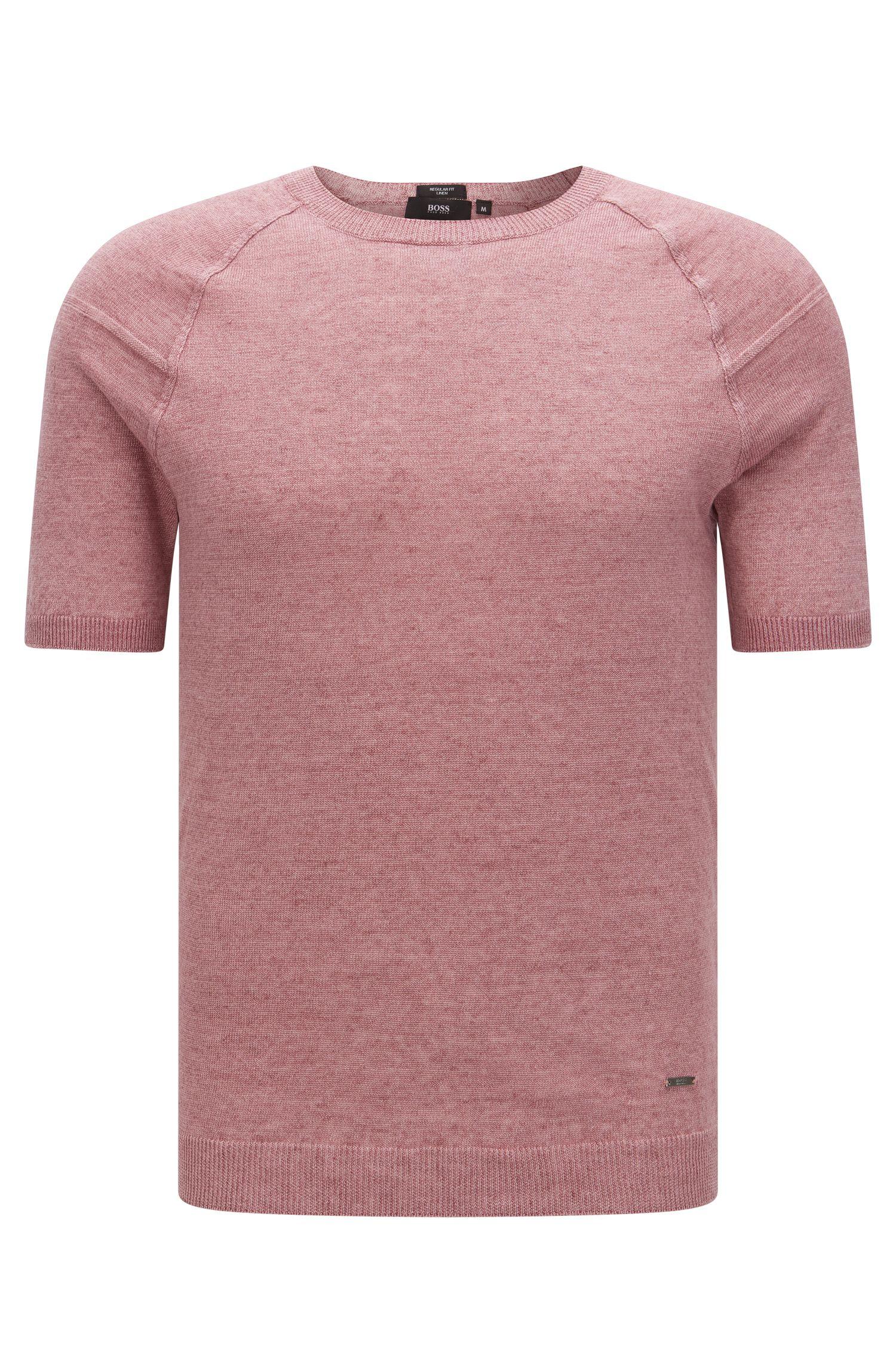 Regular-Fit Kurzarm-Pullover aus Leinen: 'Olvin'