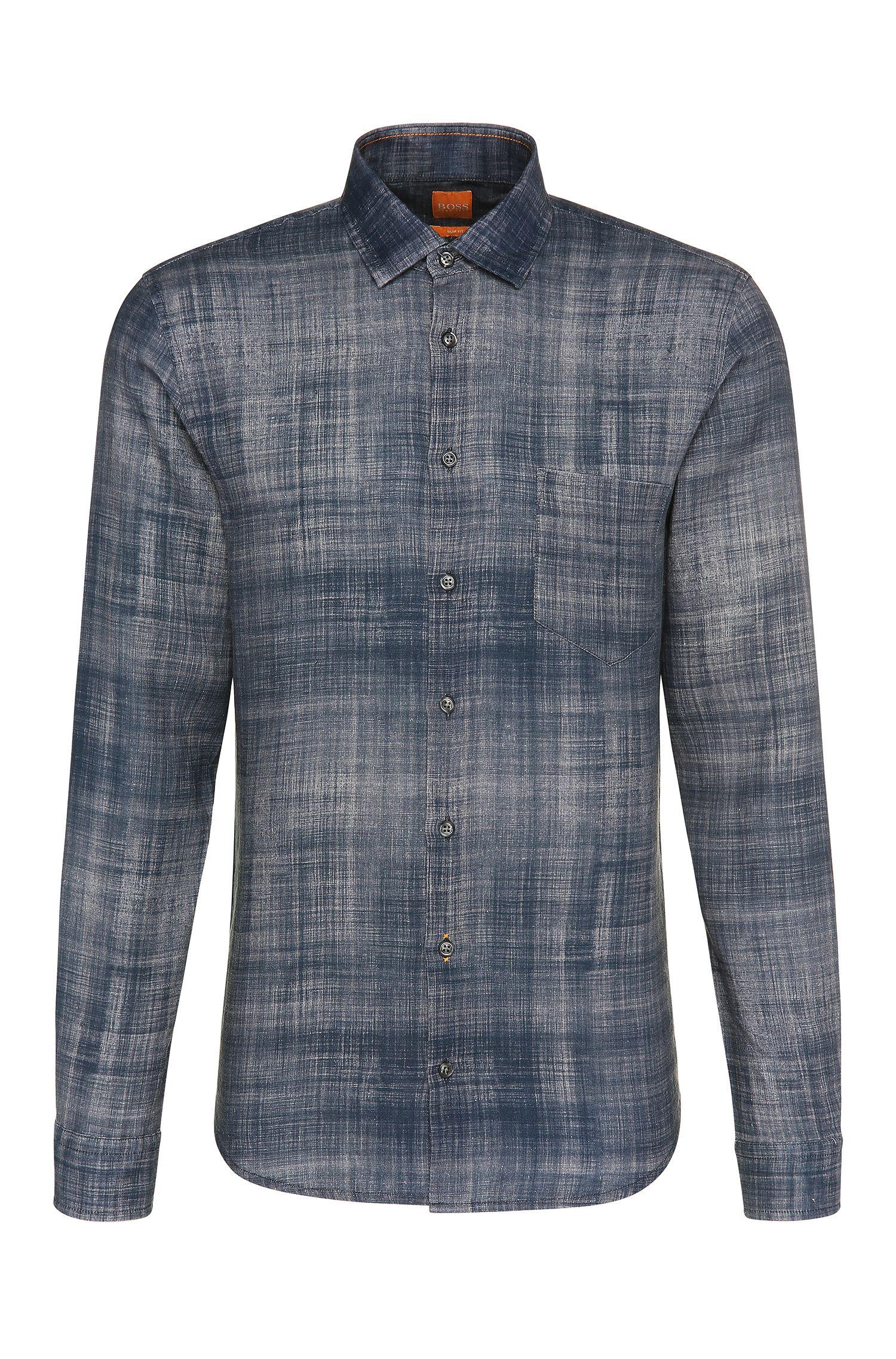 Camisa slim fit en lino con estampado: 'Epop'