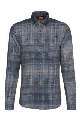 Printed slim-fit shirt in linen: 'Epop', Dark Blue
