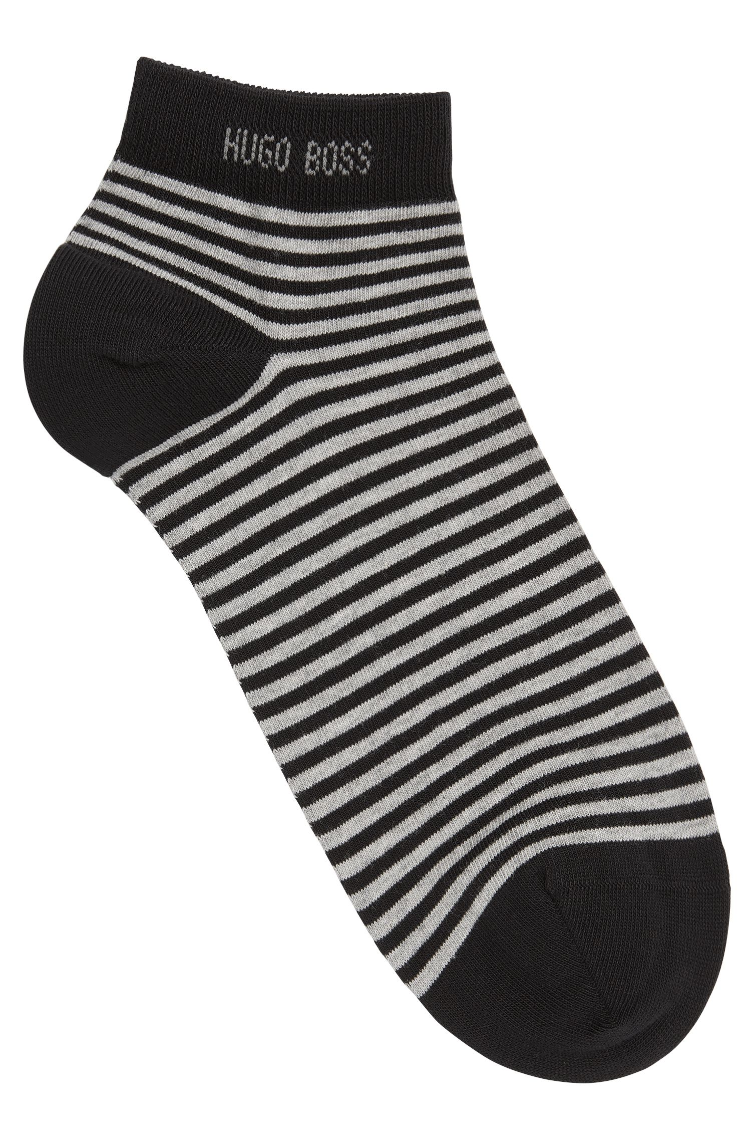 Striped trainer socks in stretch cotton: 'Marc'