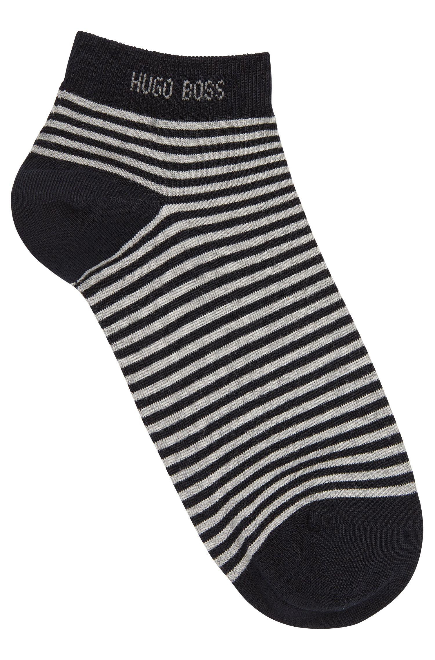 Striped trainer socks in stretch cotton: 'Marc'